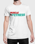 Man modelling a white t-shirt with Muscle and Fitness t-shirt design