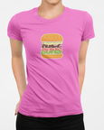 Woman modelling a Pink t-shirt with a nice buns t-shirt design