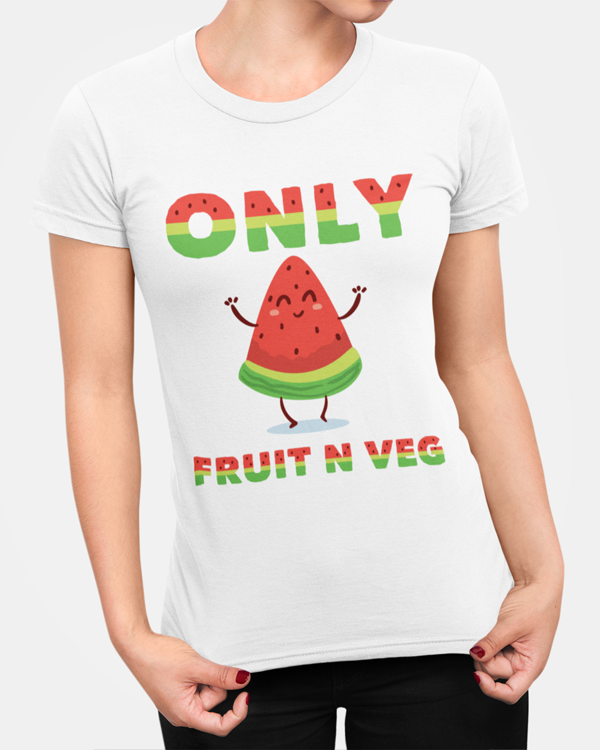 "Woman modelling a vegan t-shirt with a slogan saying ""only fruit n veg"" t-shirt design"