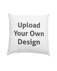 "A Pillow that you can personalise showing an ""Upload your own design"" text"