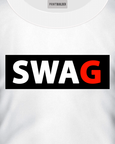 White t-shirt with a SWAG logo design