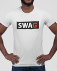 Man modelling white t-shirt with a SWAG logo design