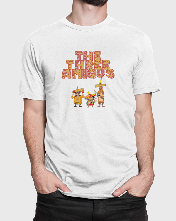 Man wearing a Three Amigos T-shirt Design loaded on to a unisex t-shirt