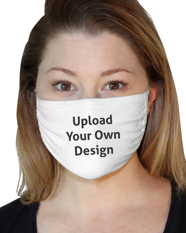 Woman wearing a white personalised Face mask with a custom design and upload your own design