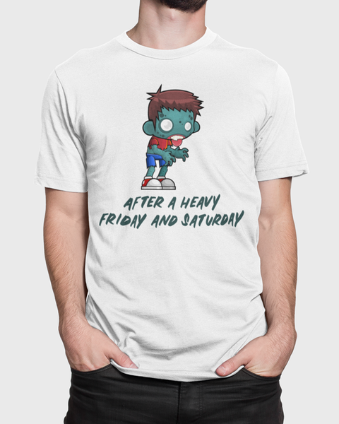 "Man modelling a white t-shirt with a zombie and the words ""After a heavy friday and saturday"" t-shirt design"