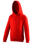 Front of a kid's red hoodie that you can personalise with custom design