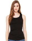 Woman with long brown hair modelling a plain black vest that you can add a personalised design to
