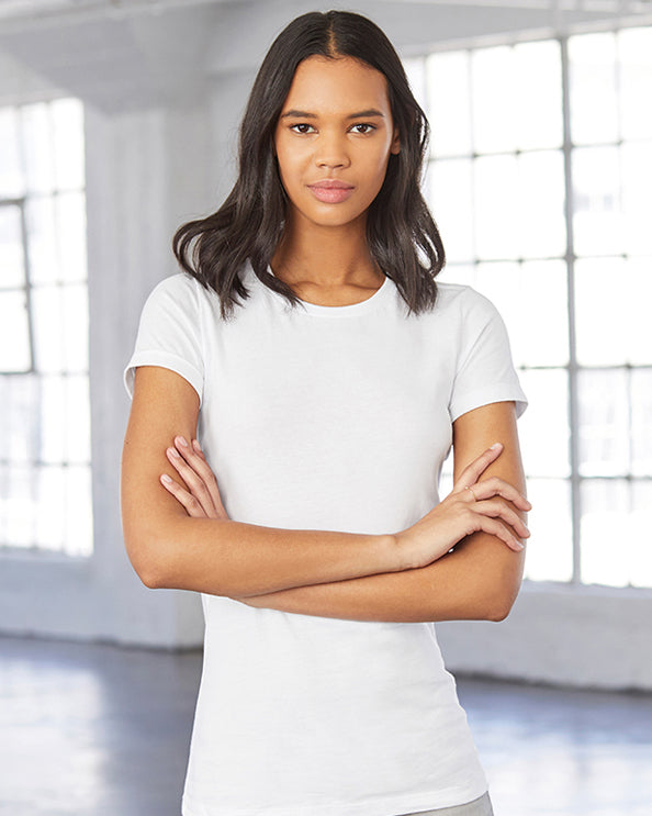 Woman with long black hair modelling a plain white t-shirt that you can add your own design to
