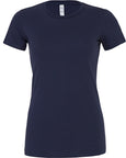 Front of women's plain navy t-shirt that you can add a custom design