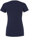 Back of women's plain navy t-shirt that you can add a custom design