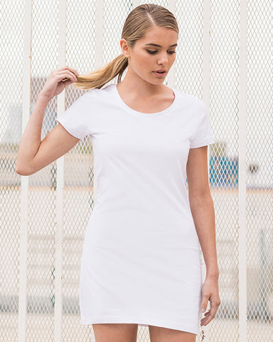 Woman with blonde hair modelling white t-shirt dress that can be personalised with custom print