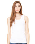 Woman with long brown hair modelling a plain white vest that you can add a personalised design to