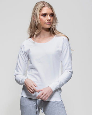 Woman with blonde hair modelling a white sweatshirt that can be personalised with custom design