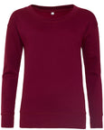 Front image of women's burgundy sweatshirt that you can personalise