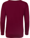 Back image of women's burgundy sweatshirt that you can personalise