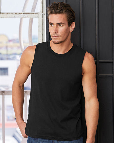 Man with short dark hair modelling a unisex black vest that can be personalised with custom print