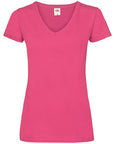 Front image of women's fuchsia v-neck t-shirt that can be personalised