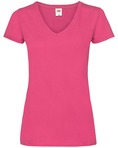 Woman with long hair modelling pink v-neck t-shirt that can be personalised with custom design