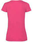 Back image of women's fuchsia v-neck t-shirt that can be personalised