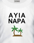 Ayia Napa Slogan With Palm Trees T-Shirt Design On a White T-Shirt