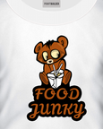White t-shirt with a Food Junky t-shirt design