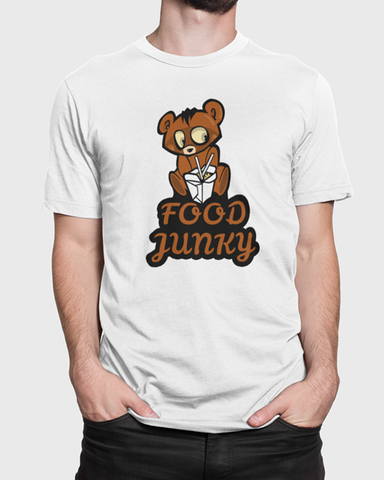 Man modelling a white t-shirt with a Food Junky t-shirt design