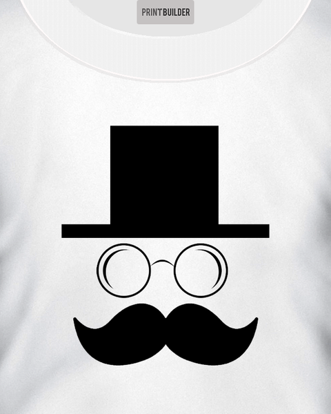Hat Man With Moustache T-Shirt Design On a White T-Shirt