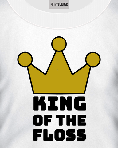 Young boy modelling a King of the floss white t-shirt design