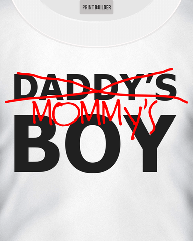 Young boy modelling a Mommy's boy white t-shirt design