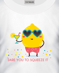 "White t-shirt with cartoon lemon holding a cocktail over the words ""Dare you to squeeze it"" t-shirt design"
