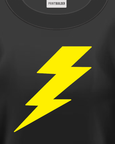 Yellow Lightning Bolt T-Shirt Design On a Black T-Shirt