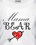 White t-shirt with a Mama Bear and Heart Logo