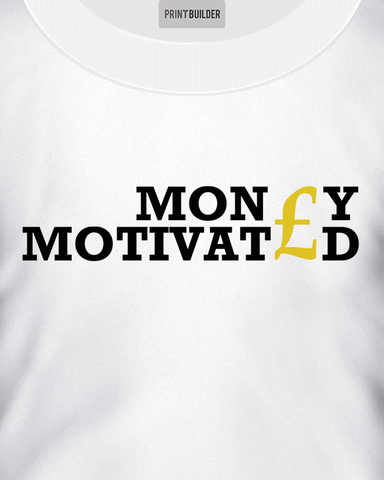 Man Modelling Money Motivated T-Shirt Design On a White T-Shirt