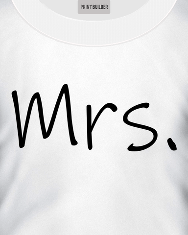 Woman modelling Mrs. T-Shirt Design On a White T-shirt