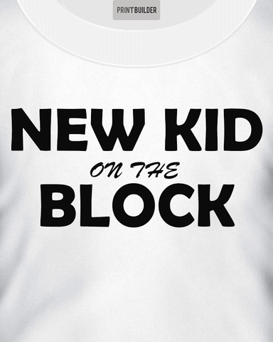 Young boy modelling a New Kid On The Block T-Shirt Design On a White T-Shirt