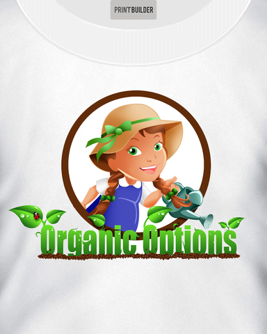 Young Girl Farmer With Organic Options Slogan T-Shirt Design On a White T-Shirt