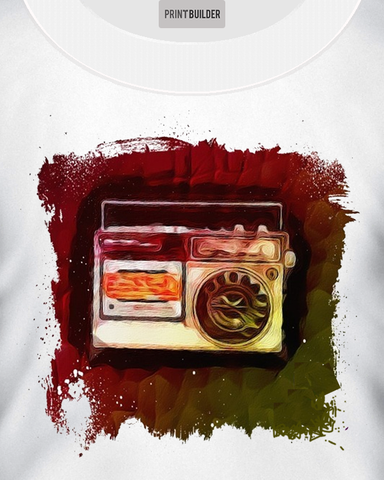 Man wearing white t-shirt with a painted radio t-shirt design