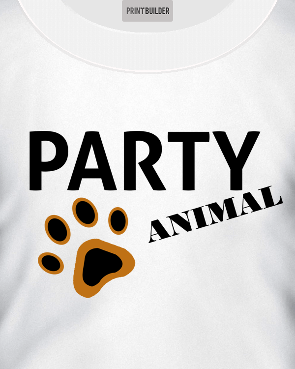 Party Animal Slogan T-Shirt Design On a White T-Shirt