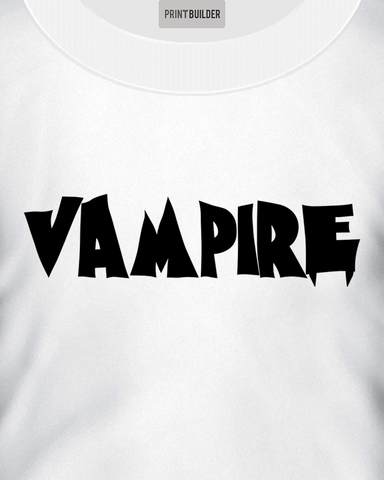 Man modelling a white t-shirt with a vampire slogan t-shirt design