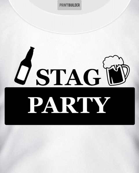 Beer Bottle Stag T-Shirt Design On a White T-Shirt
