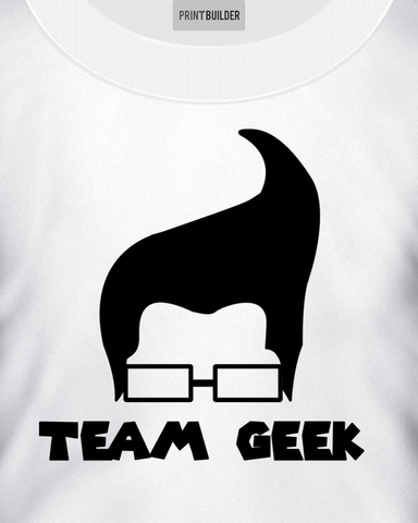 Man modelling a Team Geek T-Shirt Design On a White T-Shirt