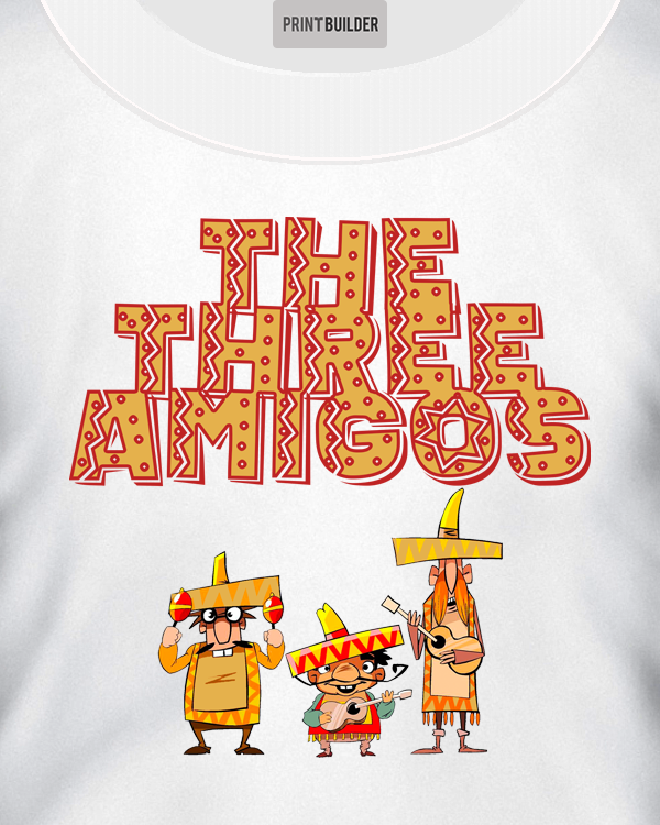 Three Amigos T-shirt Design loaded on to a unisex t-shirt