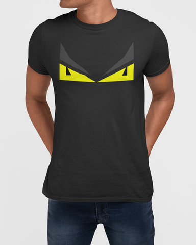 Man Modelling a T-shirt design with yellow eyes on a grey t-shirt
