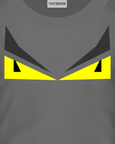 T-shirt design with yellow eyes on a grey t-shirt