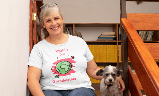Mature woman wearing a white custom t-shirt with a personalised design for grandmothers