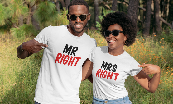 Happy couple wearing matching custom valentines t-shirts with a personalised t-shirt design