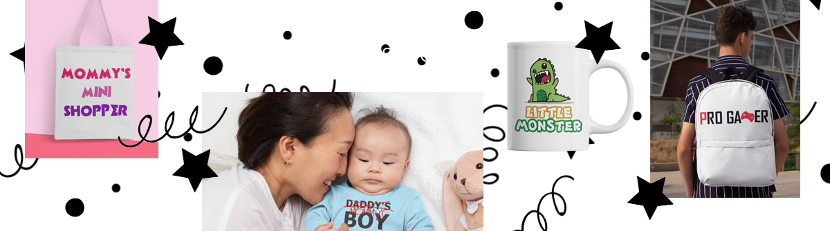 A collage of images showing customised and personalised gifts for kids. Custom canvas bag, custom baby grow and vest, custom cups and a custom bag