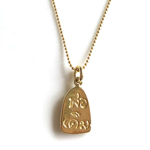 "Traditional Thai small amulet in 22K gold vermeil with Metta prayer inscription; 18"" gold necklace has lobster clasp and hand-pressed Jai Style charm. Wear it for beauty and purpose. Amulet features Buddha meditating in lotus position, inspiring mindfulness, purity, enlightenment, rebirth, and triumph over adversity."