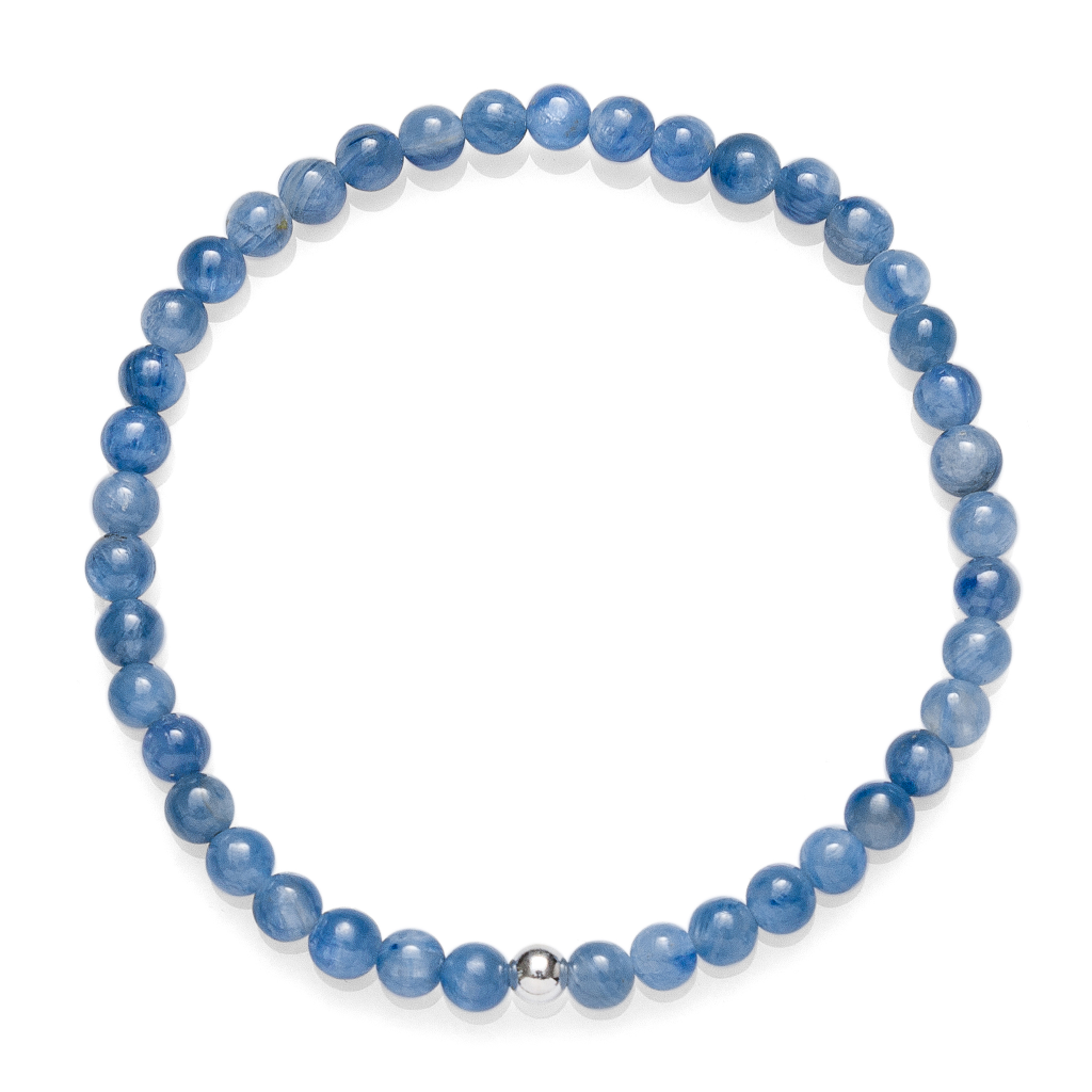 Women's 4mm polished kyanite semi-precious stone bracelet with sterling silver  bead, stretch, measures 18.4 cm