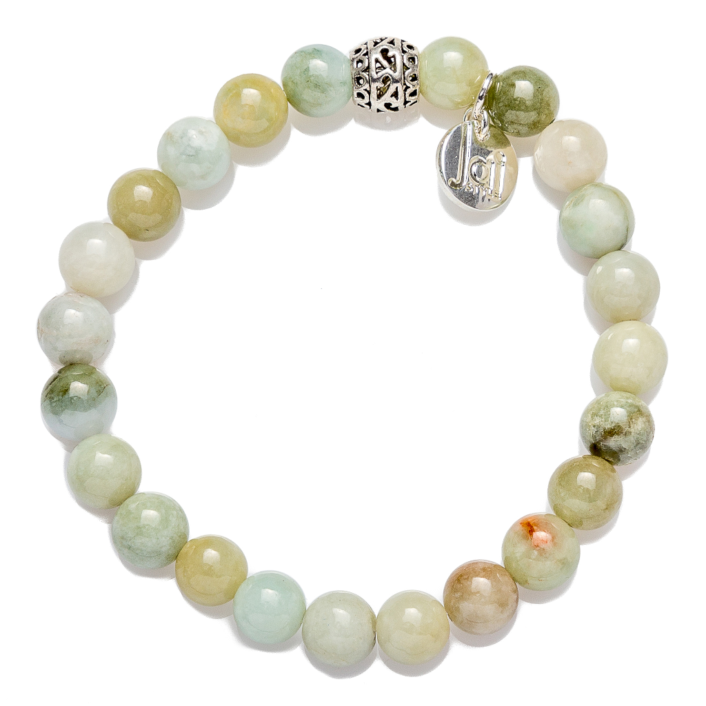 Beautiful 8mm polished Burmese jade semi-precious stone bracelet with Tibetan drum bead, stretch, measures 18.4 cm